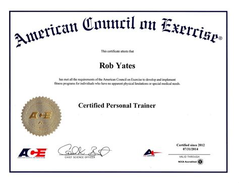 weight management qualification rob officially notified of passing the ace personal