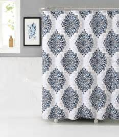 tranquility fabric shower curtain navy white and mauve