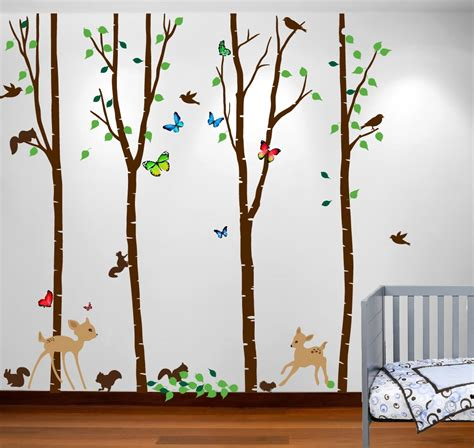 birch tree with bird and deer wall decals birch tree forest set with deer and flying birds and squirrels baby wall sticker