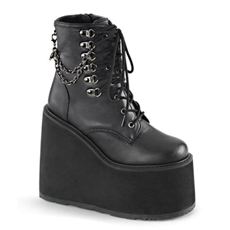 Demonia Swing 101 by Demonia Swing 101 Black D Ring Platform Boots