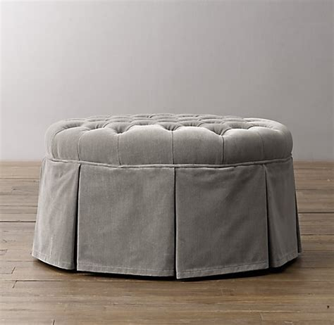 round tufted ottoman with skirt classic round tufted velvet ottoman