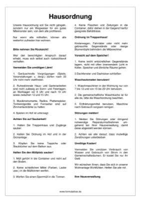 Hausordnung Muster by Hausordnung Hier Downloaden