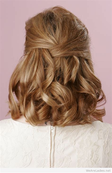 partial updos for medium length hair half up half down curly hairstyle for medium length hair
