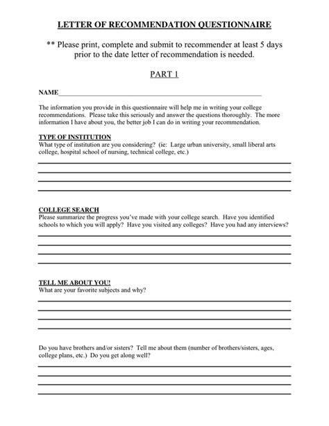 Recommendation Letter Questions Letter Of Recommendation Questionnaire In Word And Pdf Formats