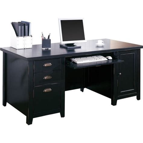 kathy ireland home by martin tribeca loft pedestal wood computer desk in black tl685