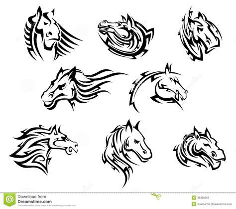 tatuajes tribales de la cabeza de caballo fotos de archivo