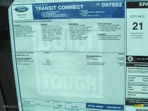 2012 ford transit connect xlt window sticker photos gtcarlot