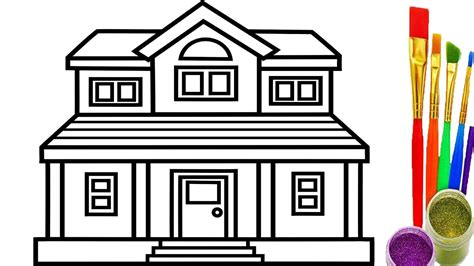 how to draw a house how to draw house coloring pages youtube videos for kids