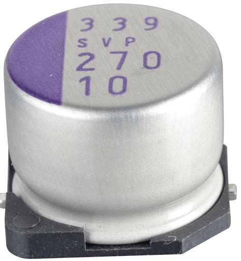 smd capacitor low esr svp 270 10 smd polymer aluminium low esr 270 194 181 10 v at reichelt elektronik