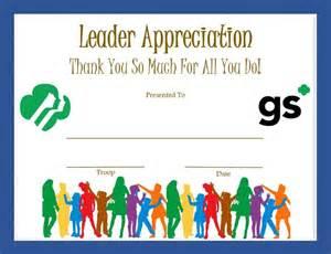 Appreciation Letter Leadership leader appreciation certificate girl scouts pinterest volunteers