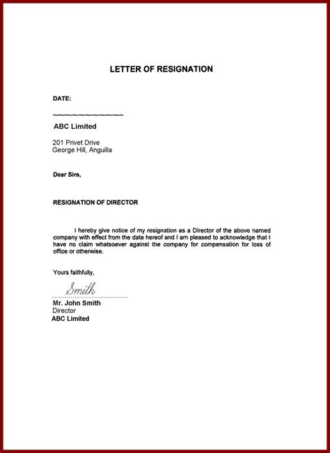 samples of simple resignation letters on two weeks notice letters