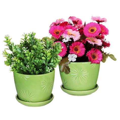 10 Inch Ceramic Flower Pots - decorative flower pots to display your favorite plants