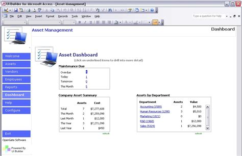 asset management dashboard template microsoft access templates powerful ms access templates