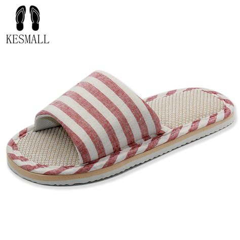 Striped Home Slippers 2017 new style household linen striped skid slippers home