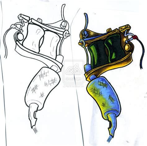 machine tattoo designs rod car tattoos gun drawing