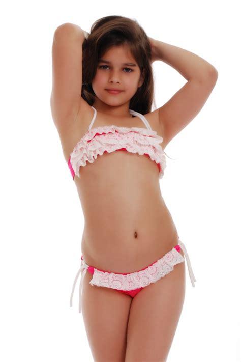 kids bikini swimsuit bando ruffles bottoms  ties