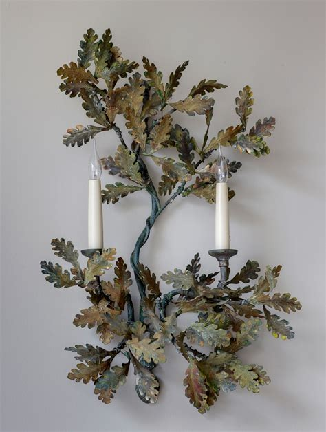 arm oak leaf wall light charles saunders