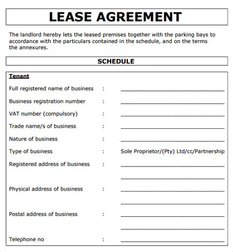 business lease agreement template commercial lease agreement 7 free for pdf doc sle templates