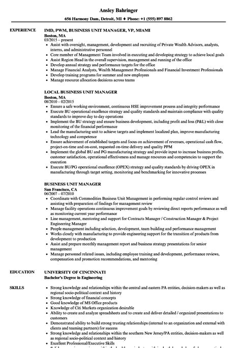 Unit Manager Resume Sle business unit manager sle resume c manager cover letter