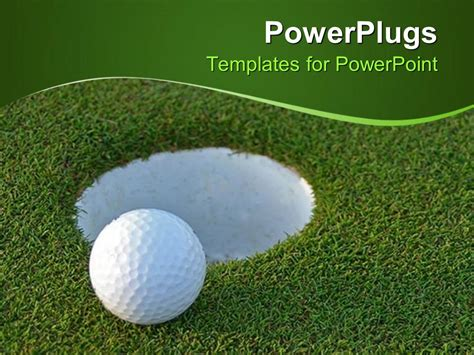 powerpoint template golf ball on green just centimeters