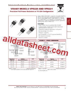 vishay resistor datasheet vpr220 datasheet pdf vishay siliconix