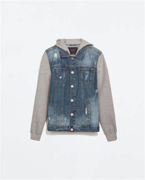 Denim Jackets For by Zara Denim Jacket With Fleece Sleeves In Blue For Lyst