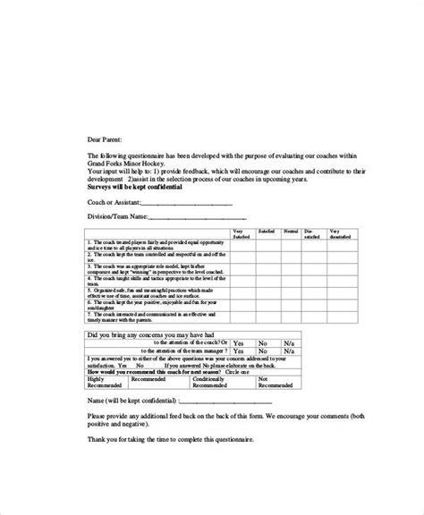 coaching feedback form template sle coach feedback form 8 exles in word pdf