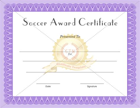 Soccer Award Certificate Templates   Certificate Template
