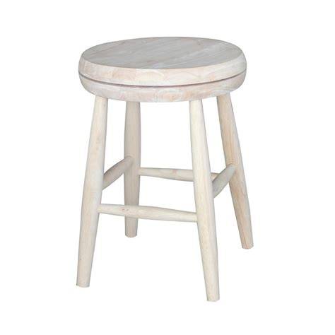 Unfinished Swivel Bar Stools by International Concepts Scooped Seat 18 In Unfinished Wood