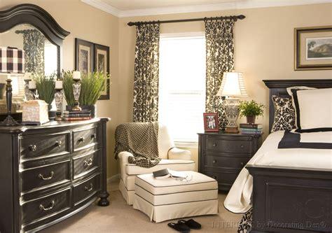 black and cream bedroom interior design window treatment ideas