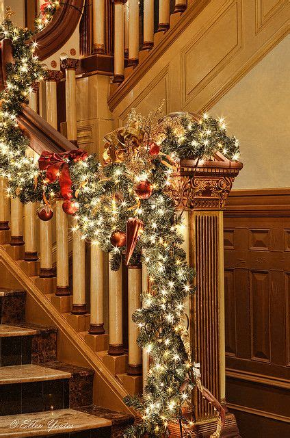 banister decor christmas stairs pinterest beautiful