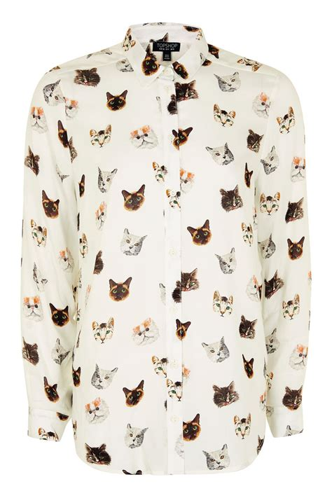sleeve multi cat print shirt topshop