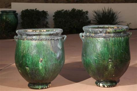 large oversized green moroccan garden planters  stdibs