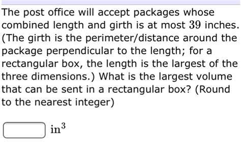 the post office will accept packages whose combine