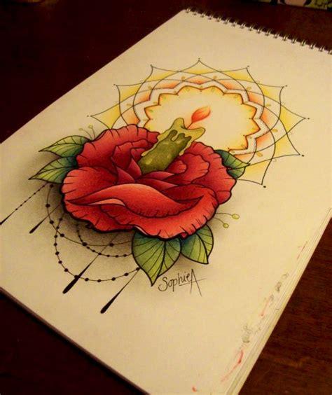 burning rose tattoo three burning candle in shape cake on wrist