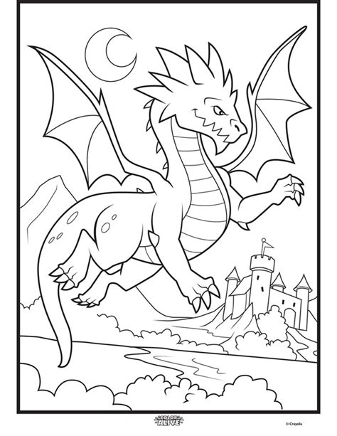 crayola action coloring pages color alive mythical creatures dragon coloring page