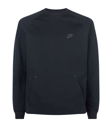 nike tech crew neck sweater in black for lyst
