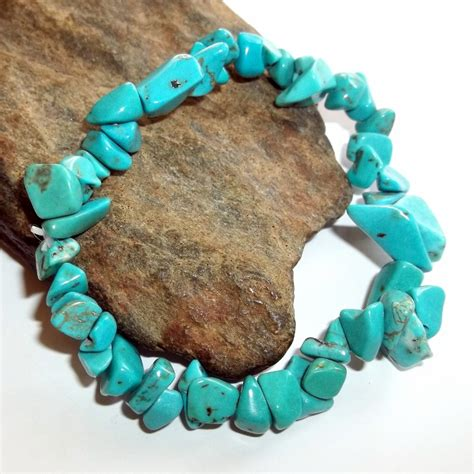 turquoise chip turquoise chip stretch bracelet