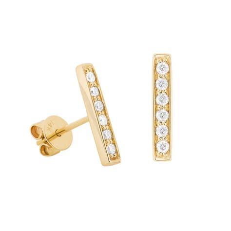 14k yellow gold pave bar stud earrings earrings