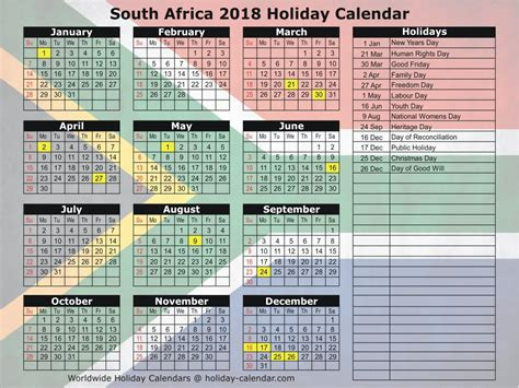 printable calendar 2018 with holidays pdf free template in excel