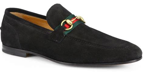 black gucci loafers lyst gucci suede horsebit loafers in black for