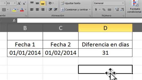 excel saber dias entre dos fechas  formula youtube