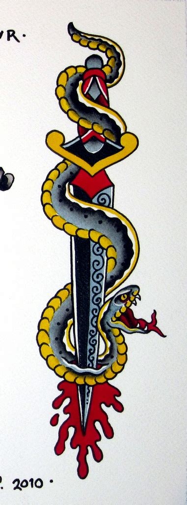 snake and dagger tattoo design 44 snake and dagger tattoos ideas