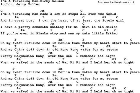 i m a lyrics country i m a traveling ricky nelson lyrics and chords