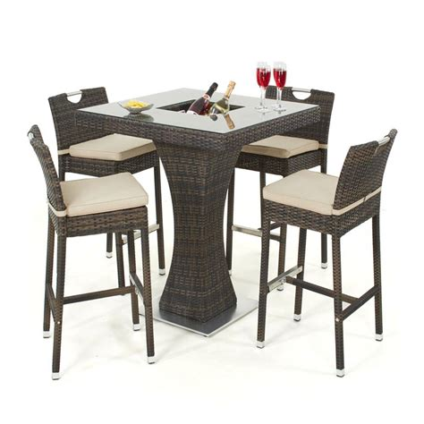 Garden Bar Table Maze Rattan 4 Seat Garden Bar Set With Gardener