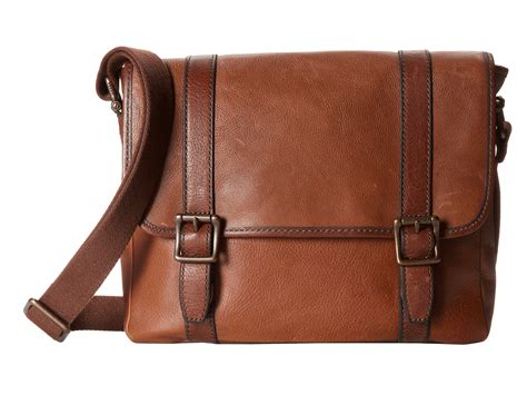 Fossil Satchrl Perfo Cognac fossil estate leather e w city bag cognac shipped free at zappos