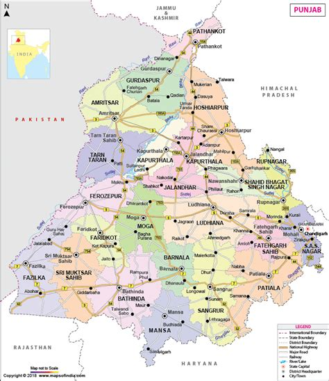 map of punjab punjab map state information districts and facts