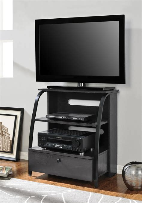 buero albers bedroom corner tv stand black melamine finished