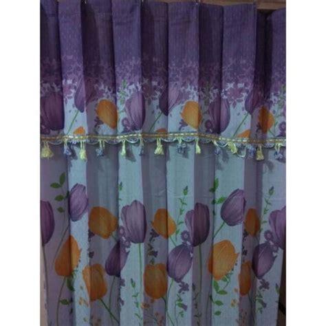 Gorden Pintu Bunga Pink hordeng gorden pliskit tirai interior murah motif bunga