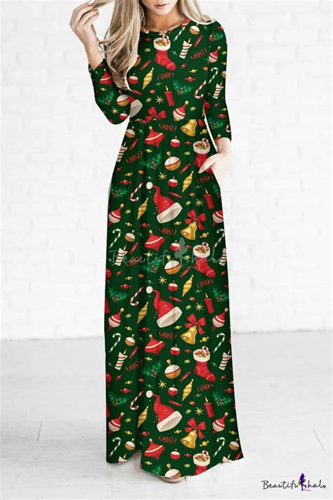 christmas pattern long sleeve dress fashion cartoon digital christmas theme pattern long